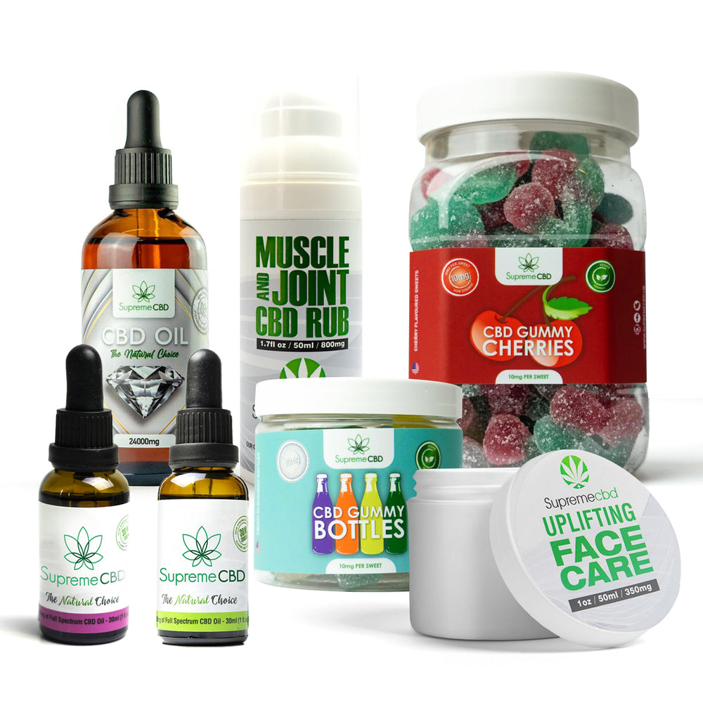 Load image into Gallery viewer, Supreme Mega CBD Starter Pack with our Muscle and Joint CBD Rub, 24000MG CBD Oil, 3000MG CBD Oil, 1000MG CBD Oil, CBD Face Cream, Large Gummy Cherries and Small Gummy Bottles