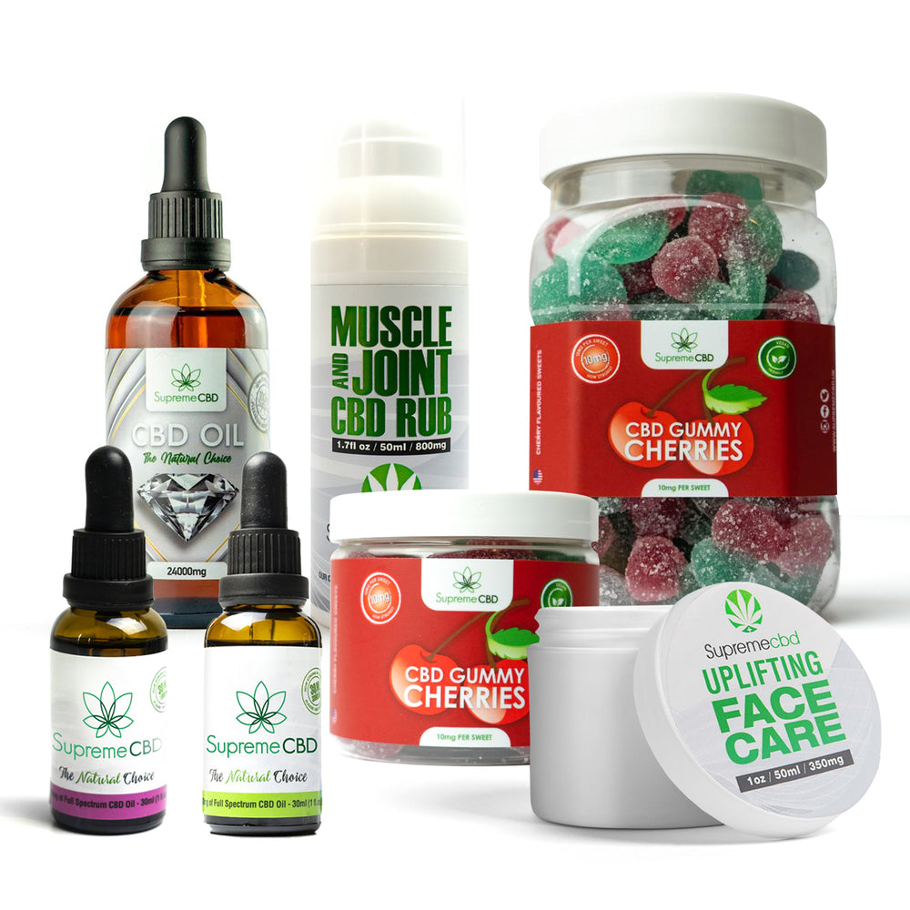 Load image into Gallery viewer, Supreme Mega CBD Starter Pack with our Muscle and Joint CBD Rub, 24000MG CBD Oil, 3000MG CBD Oil, 1000MG CBD Oil, CBD Face Cream, Large Gummy Cherries and Small Gummy Cherries