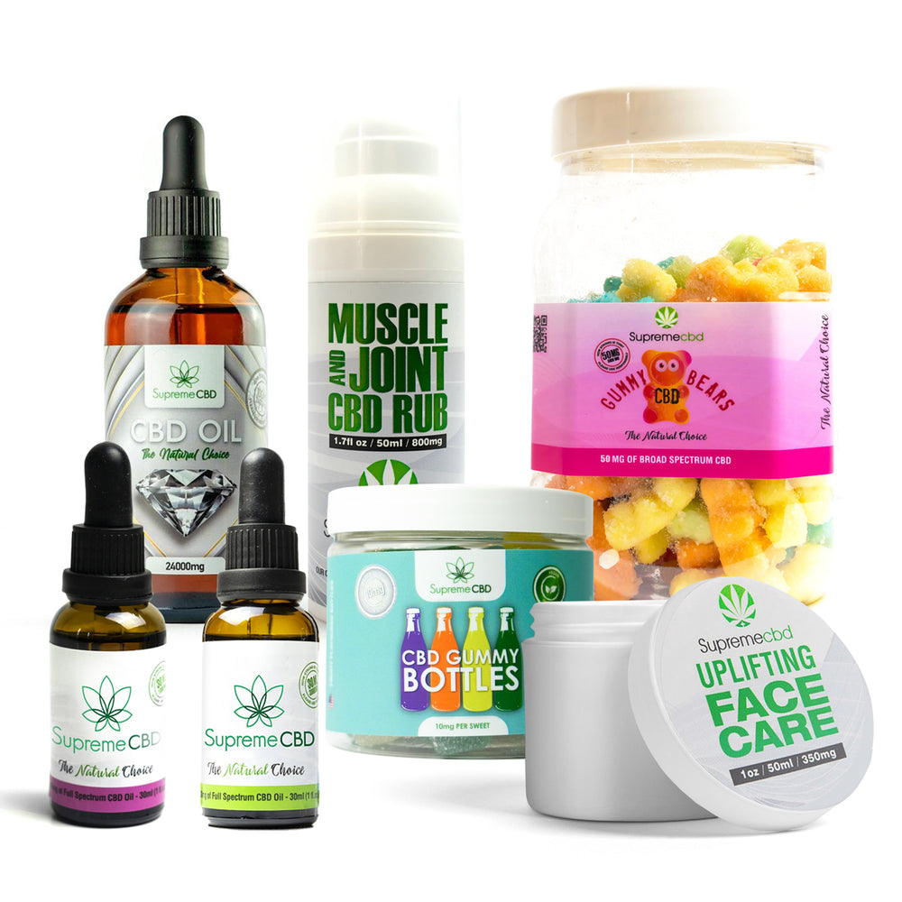 Load image into Gallery viewer, Supreme Mega CBD Starter Pack with our Muscle and Joint CBD Rub, 24000MG CBD Oil, 3000MG CBD Oil, 1000MG CBD Oil, CBD Face Cream, Large Gummy Bears and Small Gummy Bottles