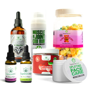 Load image into Gallery viewer, Supreme Mega CBD Starter Pack with our Muscle and Joint CBD Rub, 24000MG CBD Oil, 3000MG CBD Oil, 1000MG CBD Oil, CBD Face Cream, Large Gummy Bears and Small Gummy Cherries