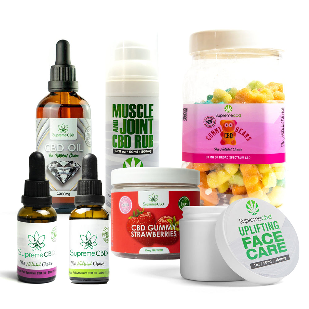 Load image into Gallery viewer, Supreme Mega CBD Starter Pack with our Muscle and Joint CBD Rub, 24000MG CBD Oil, 3000MG CBD Oil, 1000MG CBD Oil, CBD Face Cream, Large Gummy Bears and Small Gummy Strawberries