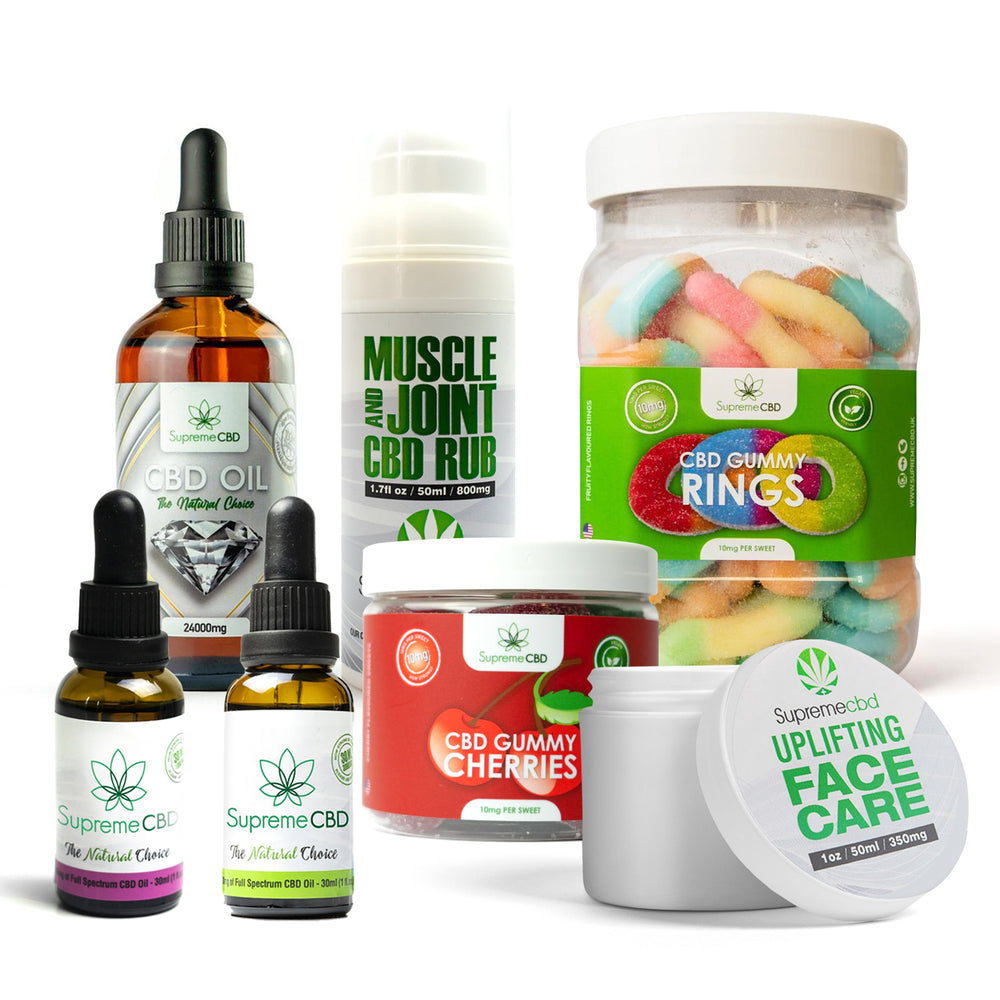 Load image into Gallery viewer, Supreme Mega CBD Starter Pack with our Muscle and Joint CBD Rub, 24000MG CBD Oil, 3000MG CBD Oil, 1000MG CBD Oil, CBD Face Cream, Large Gummy Rings and Small Gummy Cherries