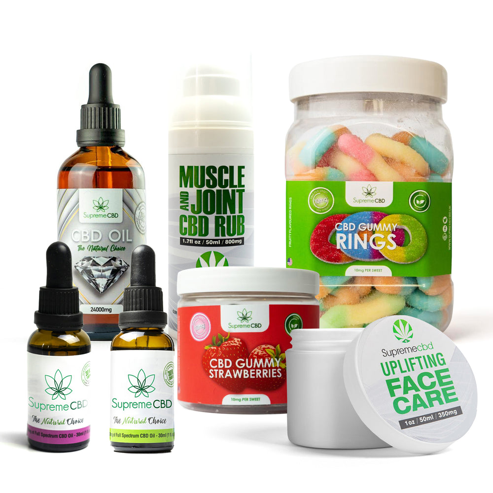 Load image into Gallery viewer, Supreme Mega CBD Starter Pack with our Muscle and Joint CBD Rub, 24000MG CBD Oil, 3000MG CBD Oil, 1000MG CBD Oil, CBD Face Cream, Large Gummy Rings and Small Gummy Strawberries