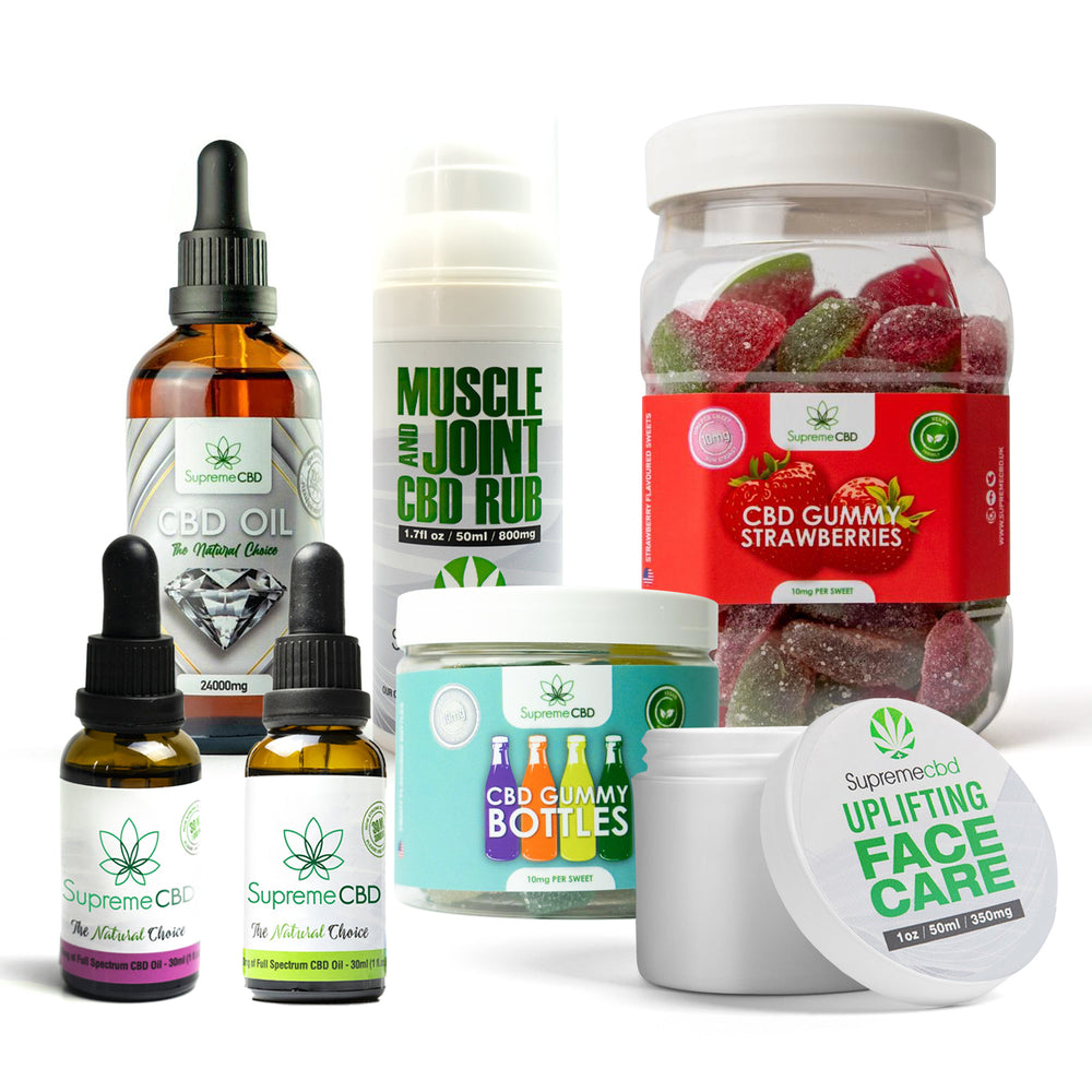 Load image into Gallery viewer, Supreme Mega CBD Starter Pack with our Muscle and Joint CBD Rub, 24000MG CBD Oil, 3000MG CBD Oil, 1000MG CBD Oil, CBD Face Cream, Large Gummy Strawberries and Small Gummy Bottles