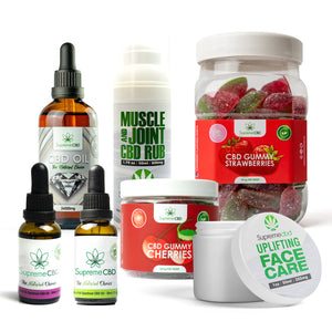 Load image into Gallery viewer, Supreme Mega CBD Starter Pack with our Muscle and Joint CBD Rub, 24000MG CBD Oil, 3000MG CBD Oil, 1000MG CBD Oil, CBD Face Cream, Large Gummy Strawberries and Small Gummy Cherries