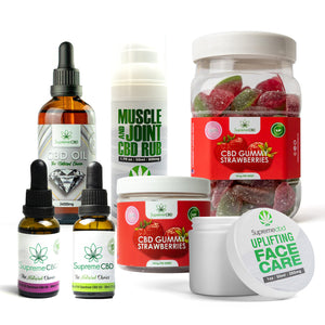 Load image into Gallery viewer, Supreme Mega CBD Starter Pack with our Muscle and Joint CBD Rub, 24000MG CBD Oil, 3000MG CBD Oil, 1000MG CBD Oil, CBD Face Cream, Large Gummy Strawberries and Small Gummy Strawberries