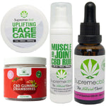 1000mg Full Spectrum Oil, Supreme CBD Muscle and Joint Rub 800mg 50ml, Supreme CBD Face Cream 350mg 50ml, and our delicious Supreme CBD Strawberry Gummy Sweets 10mg.