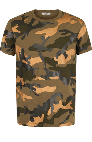 Valentino T-Shirt Camo Gold Green & Black
