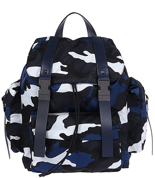 Valentino Camo Backpack White Blue White & Black