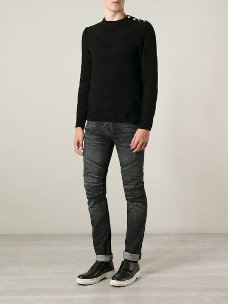 Balmain Ripped Hem Biker Jeans Distressed Black