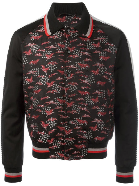 Embroidered Crane Bomber Jacket