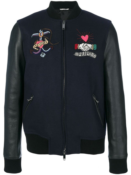 Tattoo Embroidered Bomber Jacket