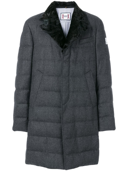 Fox Fur Collar Padded Trench Coat
