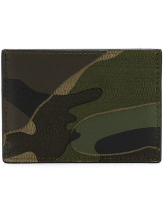 Valentino Camo Card Holder Wallet Green