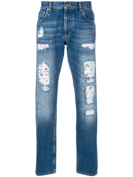 Distressed Folk Embroidery Jeans