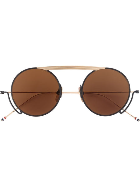 Brown Gold Tone Titanium Sunglasses