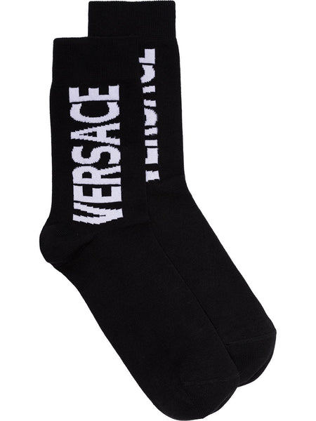 White Logo Printed Socks