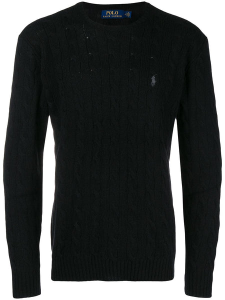 Cable-Knit Logo Embroidered Jumper