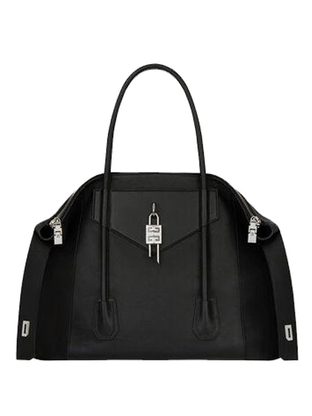Black Leather Padlock Bag