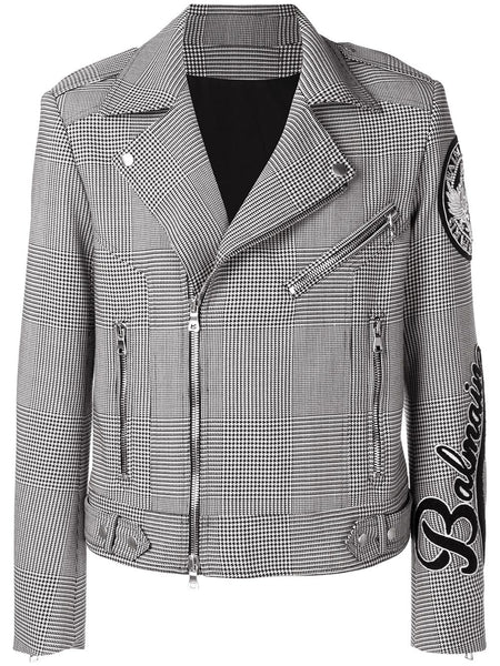 Houndstooth Check Biker Jacket