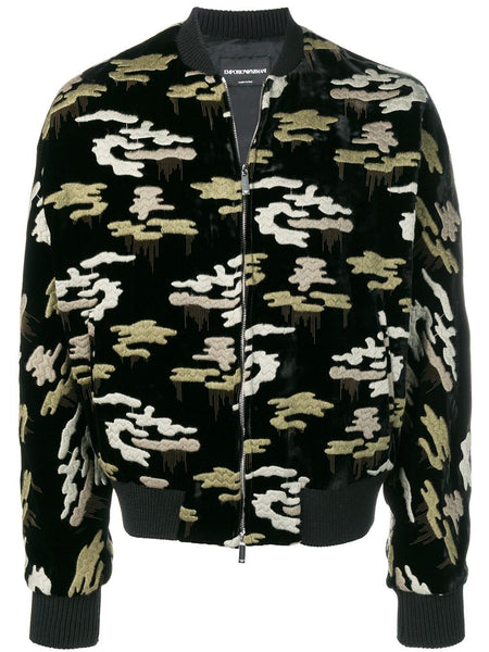 Embroidered Camouflage Bomber Jacket