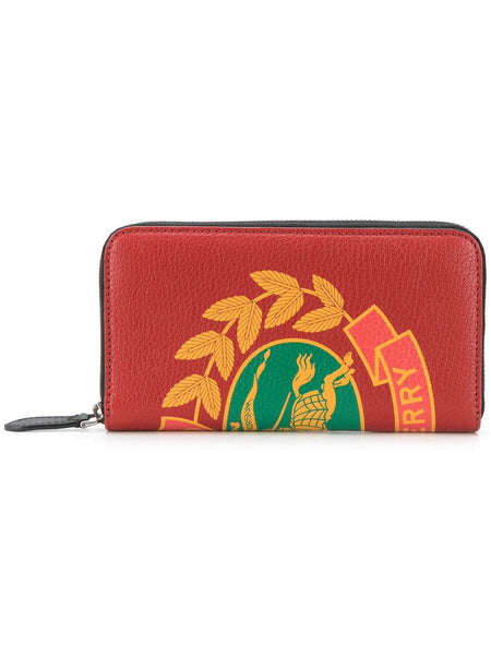 Crest Print Leather Ziparound Wallet