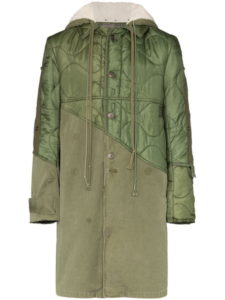 Panelled Hooded Coat