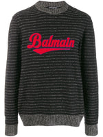 Logo Embroidered Striped Jumper