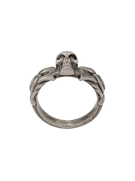 Skull-Detail Braided Ring