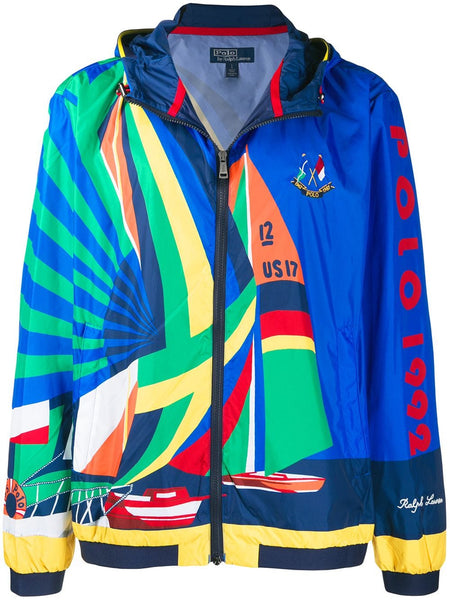 Sailboat Print Hooded Jacket