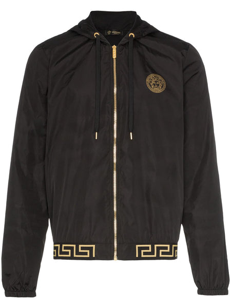 Greek Key-Trimmed Hooded Jacket