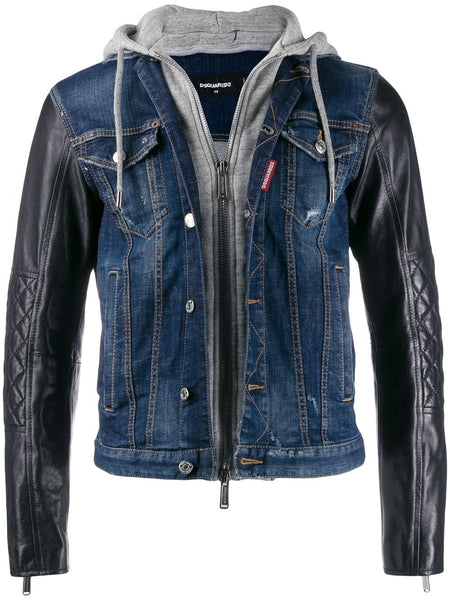 Hooded Material Mix Denim Jacket