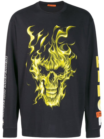 Heron Preston Fire Skull Long Sleeve T-shirt