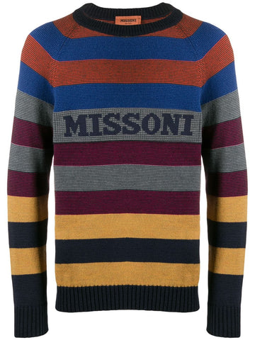 Missoni Knitted Stripe Logo Jumper