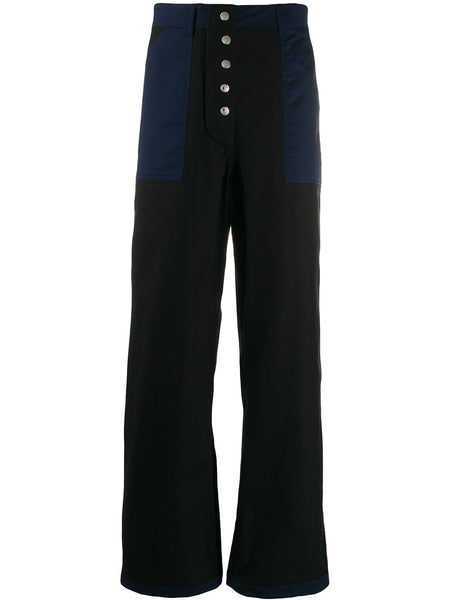 Contrast Details Straight Trousers