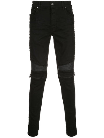 Amiri MX2 Leather Zip Black Jeans