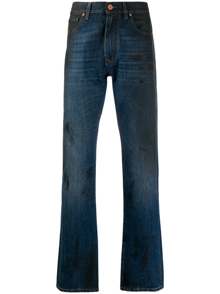 Stain-Effect Straight-Leg Jeans