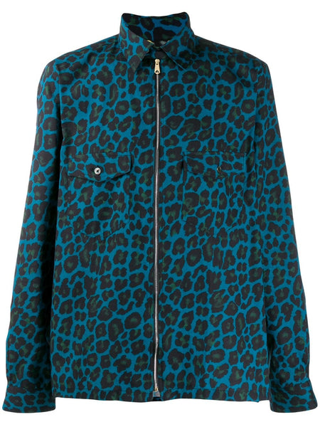 Leopard-Print Zipped Shirt Jacket