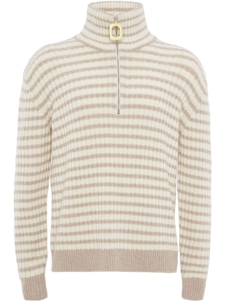 Striped Zip-Up Knitted Jumper