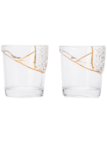 Set Of Two Gold-Trimmed Cut Crystal Glasses