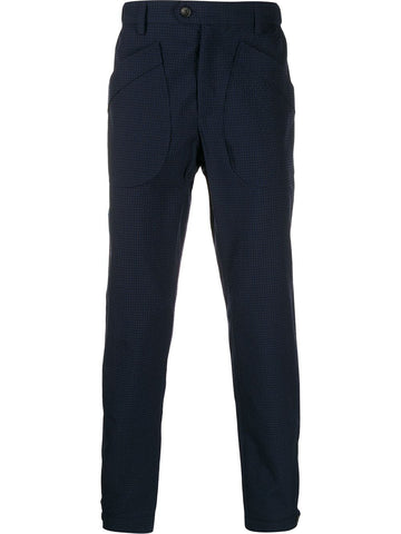 Lanvin Gingham Wool Trousers Navy