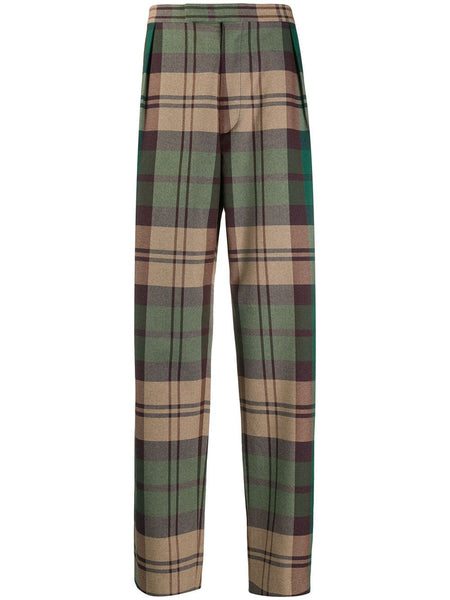 Plaid Print Tailored Trousers