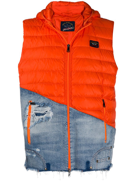 Orange Feather Down Gilet Jacket