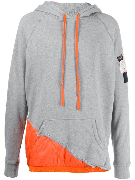 Grey Orange Contrast Hoodie