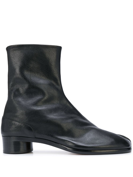 Low Heel Leather Tabi Boots
