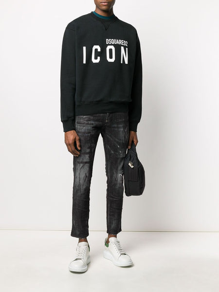 Icon-Print Crew Neck Sweatshirt