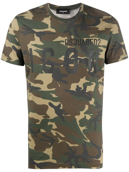 Camouflage-Print Logo T-Shirt