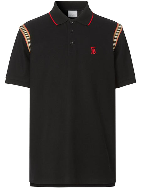 Icon Stripe Trim Monogram Motif Cotton Polo Shirt