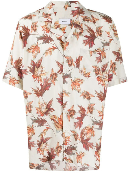 Leaves Print Bowling Shirt