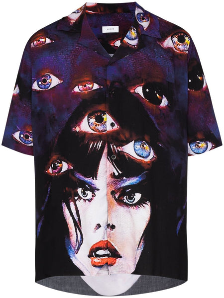 Eyes Print Bowling Shirt